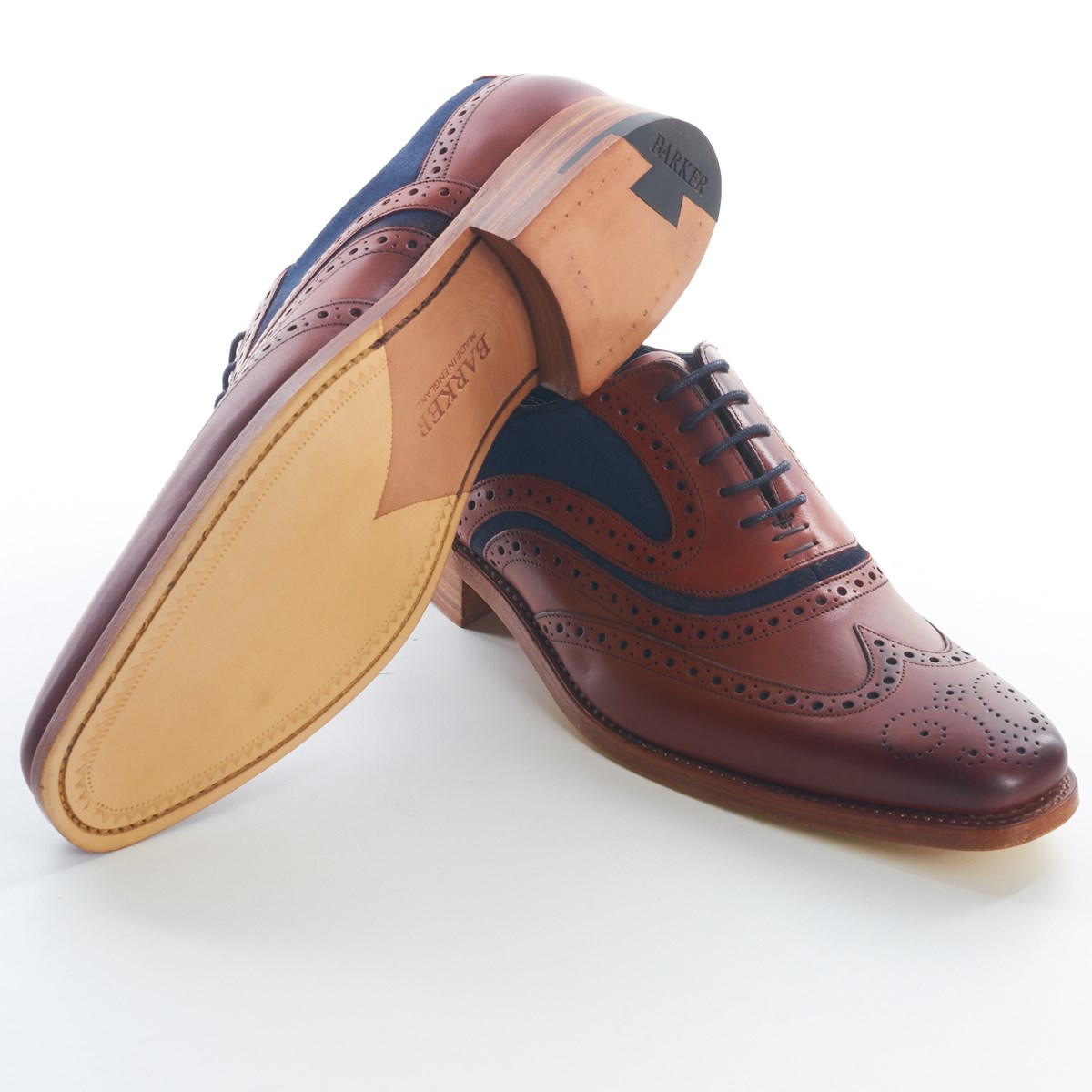 20d5f60715e82 Dress Brogue Wingtip McClean Rosewood and Navy by Barker - The Kilt Store