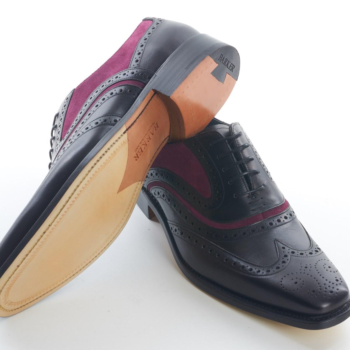 a4fde850eda4e Dress Brogue Wingtip McClean Black Calf and Purple by Barker - The Kilt  Store