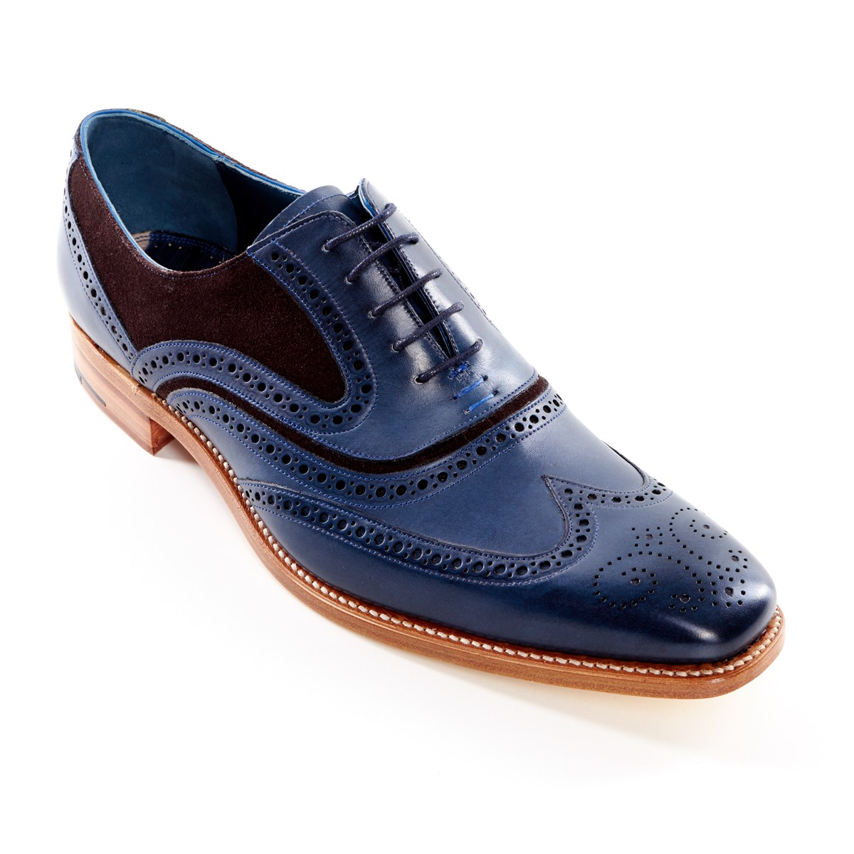 be4c902a5574d Dress Brogue McClean Hand Painted Navy and Brown Suede by Barker - The Kilt  Store