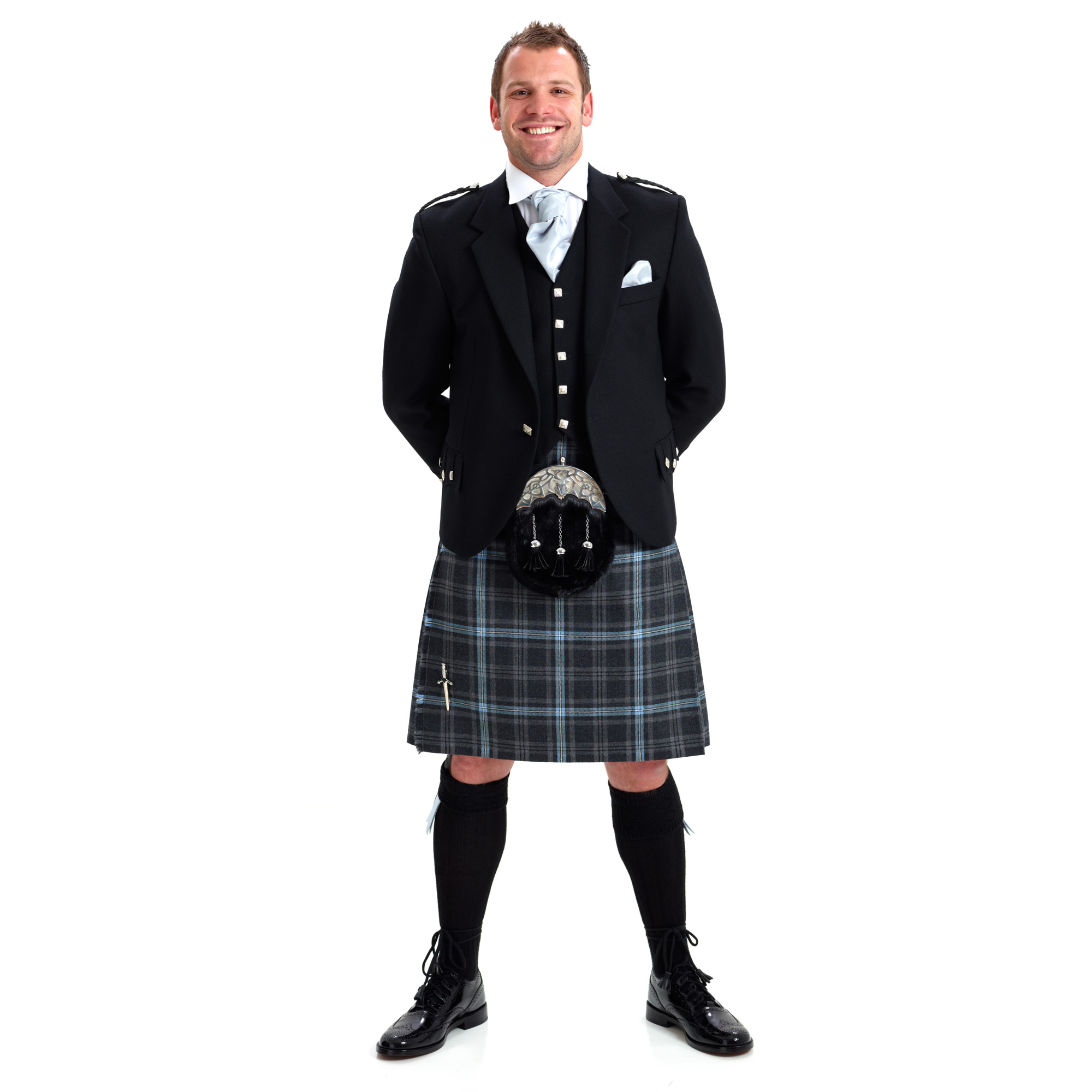 Outfit With Jacket Argyle Button Kilt 5 Yard 8 Waistcoat YSvqvOp