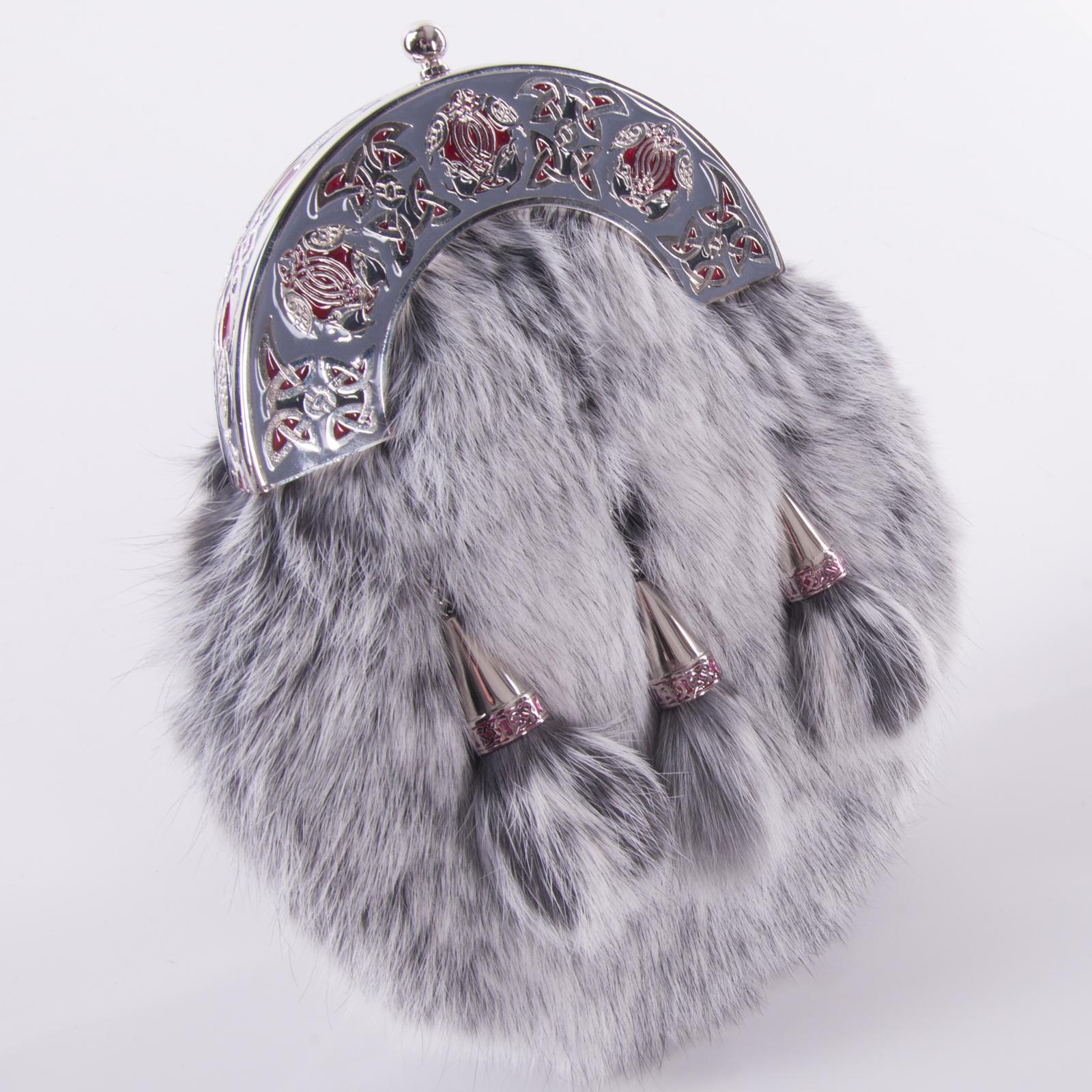 Rabbit Fur 3 Tassel Dress Kilt Sporran Black Enamel with Chain Strap-Fur Sporran