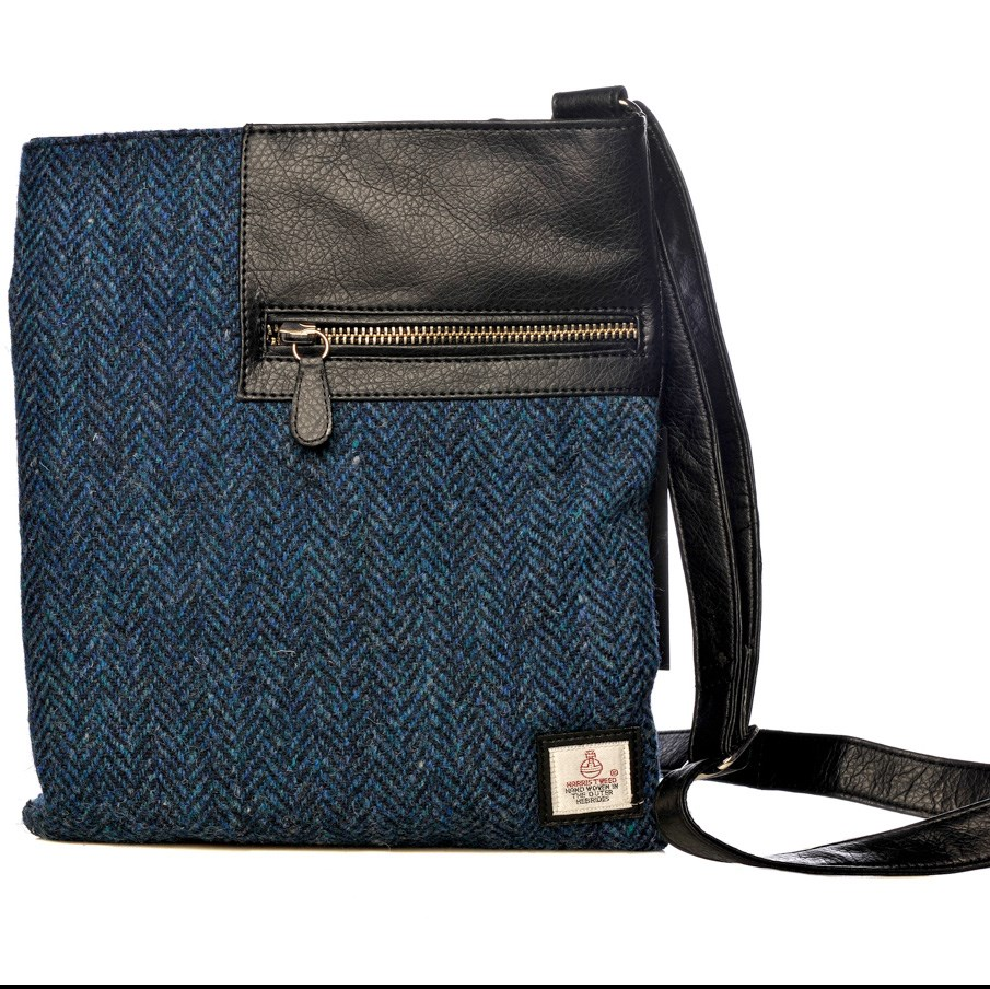 0f61dab4b9e9 Cross Body Bag in Blue Harris Tweed - Cloudberry by Maccessori - The Kilt  Store