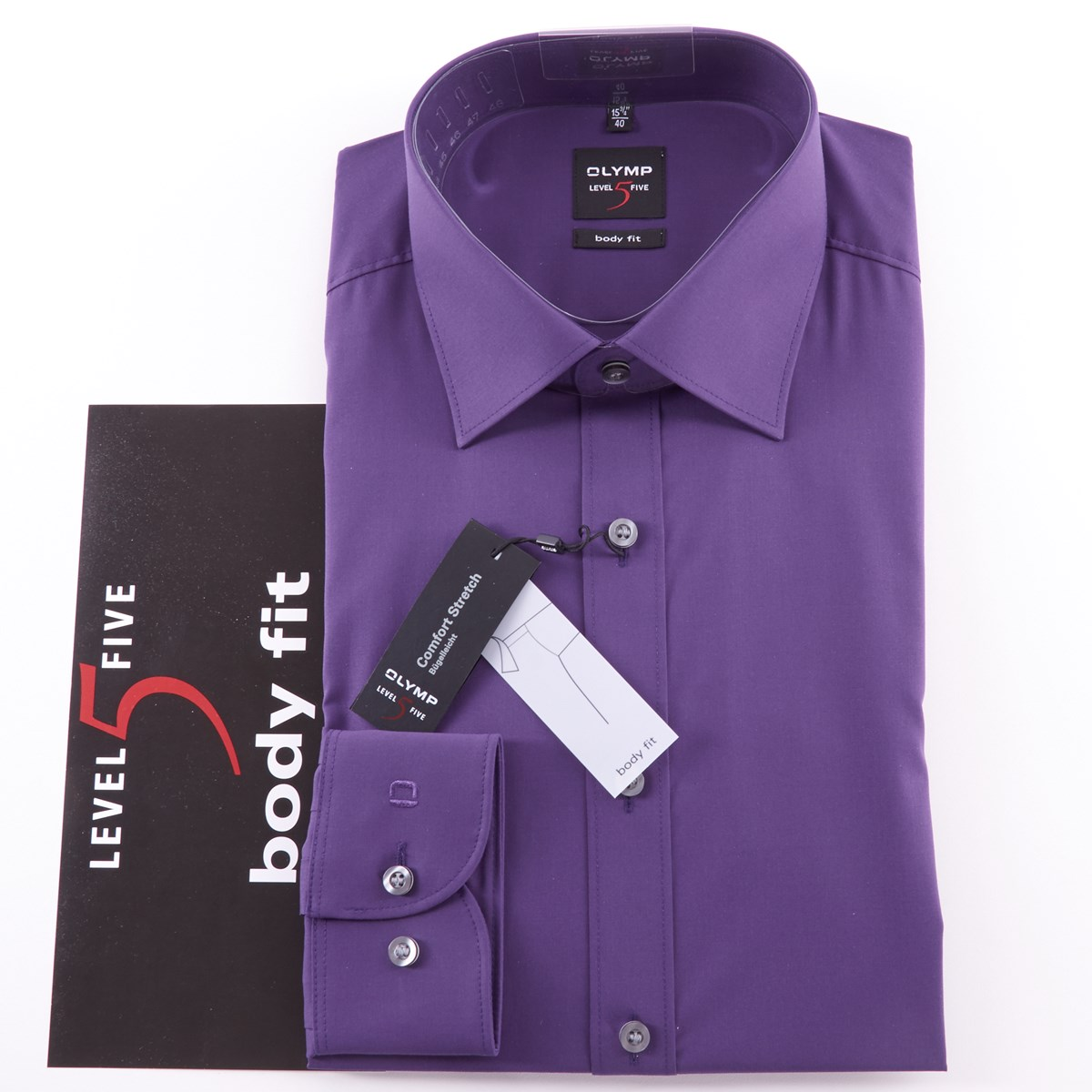 6e1fd7acdbfbbf1 Olymp Level 5 Standard Collar Shirt, Slim Fit Purple - The Kilt Store