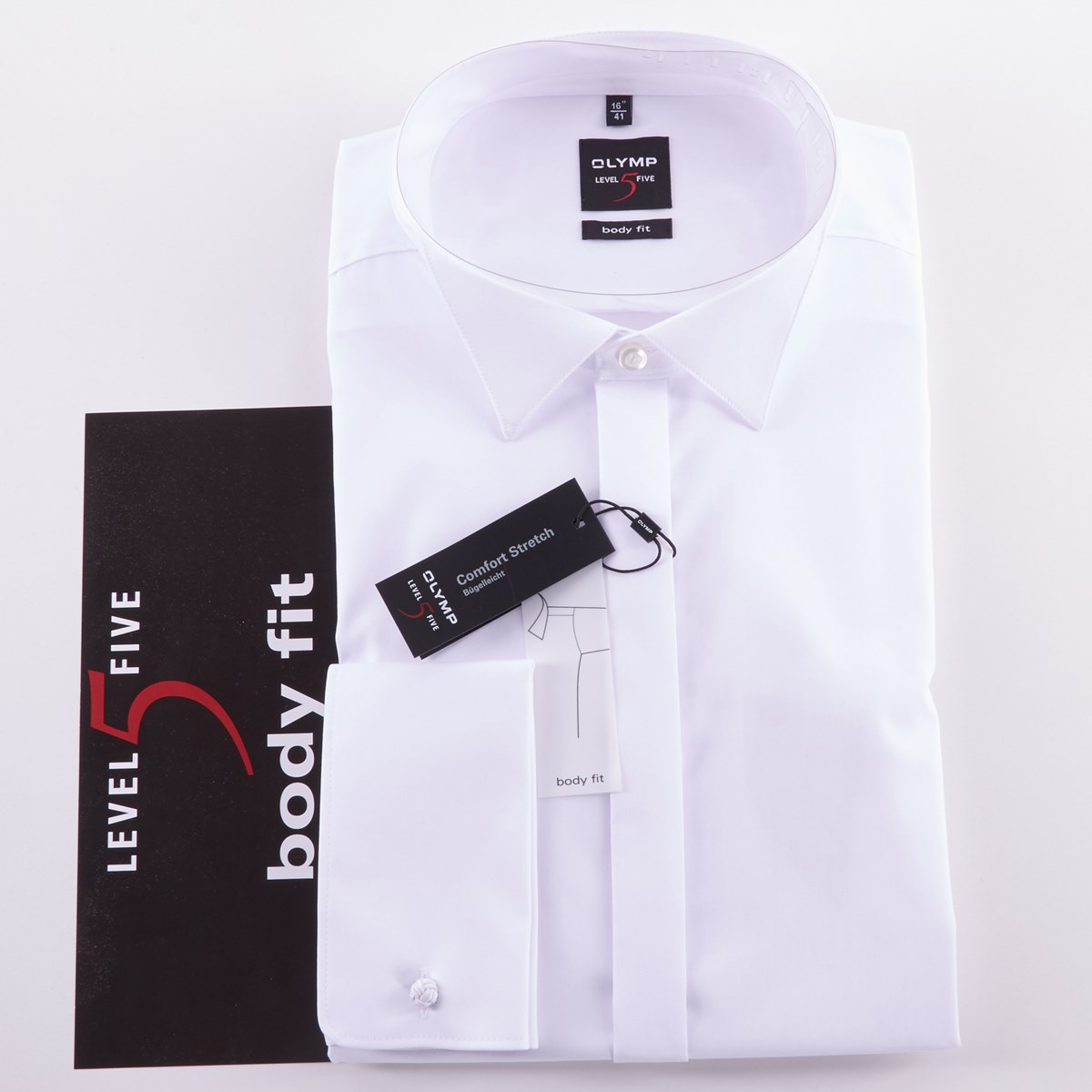 Wing Collar Shirt With Double Cuff White The Kilt Store