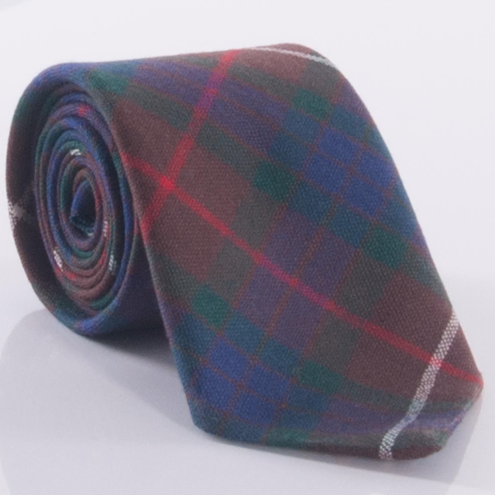 Mens Clan Tie Made in Scotland Brown Modern Tartan