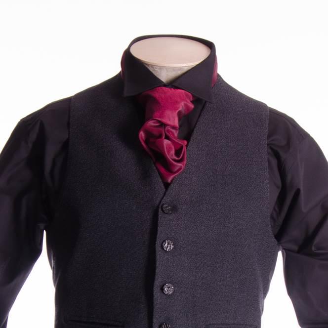 Evening shirt large wing collar double cuff black monaco for Tony collar dress shirt